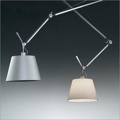 artemide tolomeo decentrata suspension light, paper/fabric