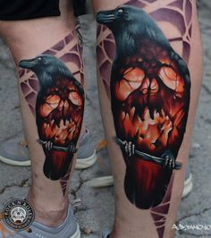 Fire Skull Raven tattoo by AD Pancho | Best Tattoo Ideas Gallery