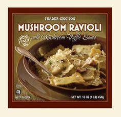 My guilty pleasure: Trader Joe's Mushroom Ravioli with Mushroom Truffle Sauce Best Trader Joes Products, Truffle Sauce, Truffle Mushroom, Mushroom Ravioli, Chopped Spinach, Yummy Treats, Food To Make, Stuffed Mushrooms, Trader Joe's