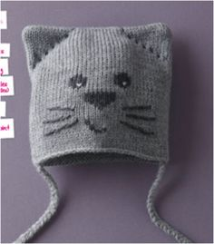 this is a Phildar pattern.  isn't it CUTE.  kitty face hat