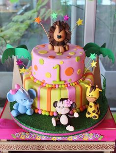 Baby Jungle Animals Birthday Party Ideas Photo 1 of 11 Catch My Party Animal Birthday Cakes, Safari Birthday Party, 1st Birthday Cakes, 1st Birthday Girls, Baby Girl Birthday Cake, Jungle Party, Jungle Safari, Birthday Animals, Birthday Ideas