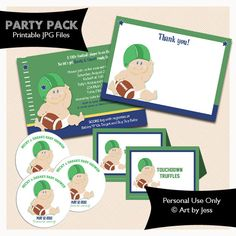 FOOTBALL BABY Party Package Baby Shower Invitation, Thank you, Tent Labels, Favor Stickers. $25.00, via Etsy.