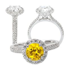 18k cultured 6.5mm round yellow sapphire ring with natural diamond halo, This is so BEAUTIFUL!!!