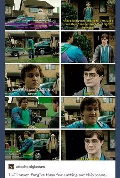 I think it would have been cool to see Dudley out on the run with them he could do muggle fighting while the rest did magic