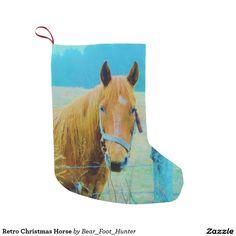 Retro Christmas Horse Small Christmas Stocking