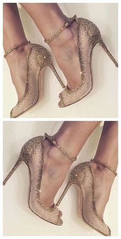 Golden Dress Shoes Rhinestone Rivet High Heels ##stiletto #highheels #tbdressreviews #stilettoheelsdress