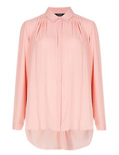 Pale Pink Concealed Button Through Pleated Blouse