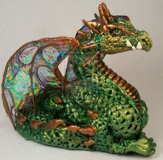 Fantasy Baby Dragon - One Of A Kind Polymer Clay Sculptures | OOAK Green Dragon 4 by *leaves4clovers on deviantART