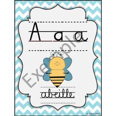 Alphabet - lettres cursives - chevrons bleus