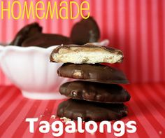 Homemade Tagalongs.  Love this version of the delicious Girl Scout Cookie!
