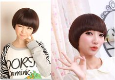 Colors Mushroom BOB Straight Bang Short Straight Women Wig wigs with wig cap