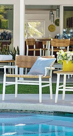 Anything Goes - Embrace summery simplicity. With airy lines and the look of woven rushes. | Frontgate: Live Beautifully Outdoors