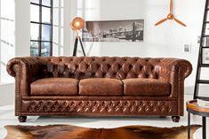 Schaffen Sie sich mit diesem Designer Chesterfield Sofa ein edles Ambiente! 3-Sitzer✓ Kauf auf Rechnung✓ Sicher online bestellen✓