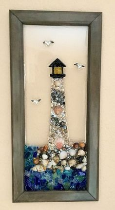 Items similar to Lighthouse Framed Art, . - My latest addition to my shop: Lighthouse Art, Sea shell Art, Framed Glass Art, Sea Glass Art - Seashell Art, Seashell Crafts, Beach Crafts, Summer Crafts, Holiday Crafts, Sea Glass Crafts, Sea Glass Art, Resin Crafts, Diy Crafts