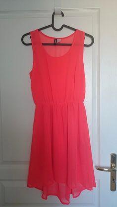 6fc91627c86b1 Robe rouge rose legere - Robe rouge rose flashy en voile avec doublure