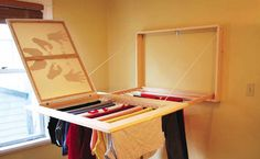 Hidden drying rack- this is such an amazing idea! Drying racks are always inconvenient to have up or to store- this takes away the inconvenience factor! I think you could also take away one row of the spindles and stretch more canvas over it to have a space to lay flat to dry.