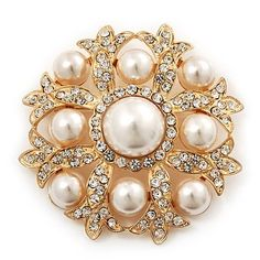 Bridal Swarovski Crystal/ Pearl Corsage Brooch In Gold Plating - 5cm Diameter Avalaya. $27.90. Occasion: bridal, cocktail party, going to theatre. Wear On: apparel, lapel, bag. Gemstone: swarovski crystal, faux pearl. Collection: pearl. Metal Finish: gold plated