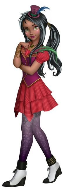 Freddie Faciler from Descendants Wicked World. She's Daughter of Dr.Faciler aka the shadow man. Voiced by Chyna Anne McClain