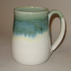 20 oz Pottery Mug in Copper Green and White