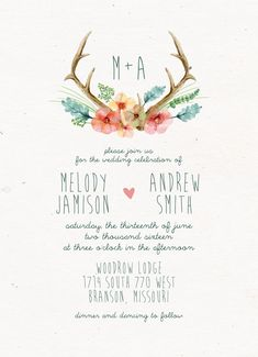 Watercolor Rustic Wedding Invitation // Antlers and Flowers // Boho, Shabby Chic Wedding 2015
