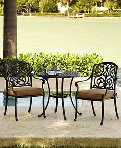 Montclair Outdoor Patio Furniture, 3 Piece Cafe Set (Round Cafe Table and 2 Dining Chairs)