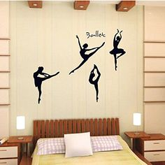 Wall Decal Ballet Dancing Home Sticker House Decoration WallPaper Removable Living Dinning Room Bedroom Kitchen Art Picture Murals DIY Stick Girls Boys kids Nursery Baby Decoration >>> You can get more details by clicking on the image.