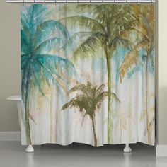 Laural Home Watercolor Palm Shower Curtain Green/blue - Bring home a laid back island feel to your bath with this Watercolor Palm Shower Curtain. The soothing colors add to the tropical landscape for a serene touch to the room. Tropical Shower Curtains, Tropical Showers, Beach Shower Curtains, Tropical Bathroom, Tropical Decor, Tropical Furniture, Tropical Interior, Tropical Colors, Coastal Colors