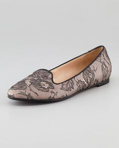 I had something like this in the 80's... they are BACK!  Caviar-Crystal Lace Smoking Slipper by Valentino at Neiman Marcus.