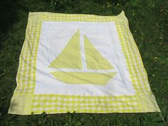 "Sailboat Quilt. Directions for 60"" x 70"" . Resize for baby blanket"