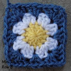 granny square  Row 3:   Join yarn in any 2ch corner space;  5ch (counts as 1dc, 2ch),  3dc into same 2ch space;  [skip 2 spaces (3dc posts);   3dc into next space,  [3dc, 2ch, 3dc into corner 2ch);  skip 2 spaces, 3dc into next space] x3;   2dc into same place as start 5ch;   sl st into 3rd of 5ch at start to close round.   Break off yarn