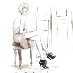 Wallpapers of fashion illustrations by French illustrator Sophie Griotto 1024x1024 (20)