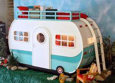 Retro Camper Indoor Playhouse Bed ~ Lilliput Play Homes Custom Children's Playhouses Blog #childrensindoorplayhouse