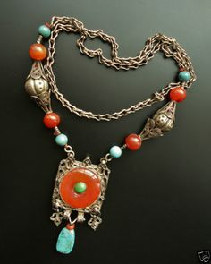 Art Deco Chinese Export Sterling Silver Pendant Necklace Carnelian Turquoise | eBay