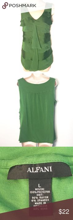 "❣BOGO 1/2 off❣Gorgeous Alfani tiered tank top Beautiful green color. Slightly distressed tiered ruffle detail. Very flattering fit. Size large. Approx 25"" long & 21"" flat across bust. Excellent condition! Only minor flaw is slight imperfection on fabric of lower left side that's unnoticeable while wearing, as shown. Otherwise flawless. ❣Ask me how to BOGO HALF price! ✖️I do NOT MODEL✖️ 🔴Bundle to save! 🔴NO TRADES. 🔴REASONABLE offers welcome via offer button. Alfani Tops Tank Tops"
