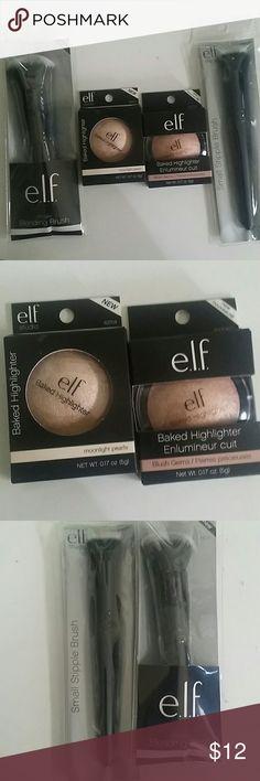 Elf Makeup Lot 4 items 2 highlighters 2 brushes 1. Baked Highlighter in moonlight pearls 2. Baked Highlighter in Blush Gems 3. Ultimate Blending Brush 4. Small Stiple Brush ELF Makeup