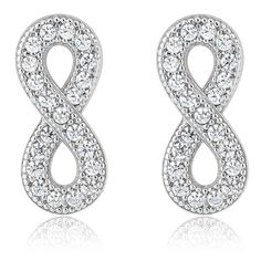 18cebace16e1 925 Sterling Silver Infinity Shape Stud Earrings Made With Swarovski  Zirconia     Find out more about the great product at the image link. Women  JewelryStud ...