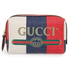 Gucci Logo Print Stripe Linen Makeup Bag - Gucci Makeup - Ideas of Gucci Makeup - Gucci logo print stripe linen makeup bag Diy Makeup Bag, Makeup Pouch, Makeup Ideas, Striped Canvas, Striped Linen, Large Toiletry Bag, Womens Fashion Casual Summer, Red Logo, Printed Linen