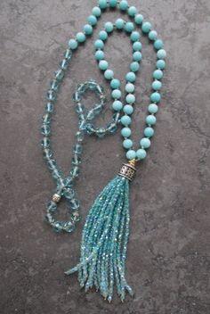 Ombre tassel necklace Beach Blues knotted long by slashKnots czech glass