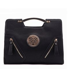 Another great find on #zulily! Black Double-Zipper Satchel by MKF Collection #zulilyfinds