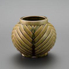 織部刻文壷 Pot with engraved,Oribe type2013