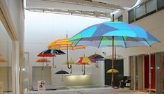 Floating umbrellas in Japanese mall