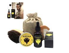 Beard Oil Balm Comb Brush Beard Care Kit Mustache Grooming Set for Men #Oalen