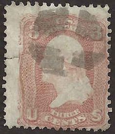 US 19th Century # 65 - 3¢  George Washington -  Bright Rose Used FAULT #AbA