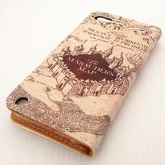 Harry Potter Hogwarts Marauder's Map Unique Design Pattern Slim Wallet Card Flip Stand PU Leather Pouch Case Cover For Apple iPod Touch 5 5th generation.