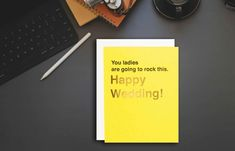 This LGBT friendly card is perfect for a lesbian couple who is finally getting hitched. This is great for celebrating weddings or engagements. Funny Wedding Cards, Wedding Cards Handmade, Wedding Humor, Lgbt Wedding, Minimal Wedding, Geometric Wedding, Watercolor Wedding Invitations, Letterpress Printing, Wedding Save The Dates