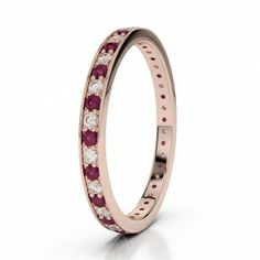 Ruby Diamond & Rose Gold Eternity Ring by AG & Sons