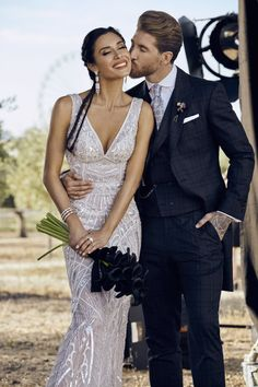 Sergio Ramos and his wife Pilar Rubio. We want to share with you one of the happiest days of our lives, in which our dream came true. Thank you all for joining us and for the support you give us each day. Celebrity Couples, Celebrity Weddings, Celebrity Style, Wedding Suits, Wedding Couples, Wedding Attire, Perfect Wedding, Dream Wedding, Wedding Goals