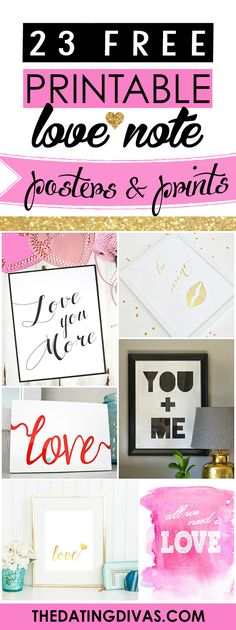 FREE love posters and prints. Perfect for Valentine's Day, Anniversaries, and Bedroom Decor! www.TheDatingDivas.com
