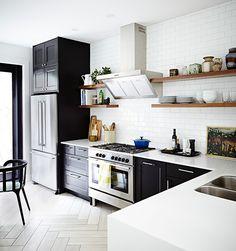 Kitchen Floor Makeover Open Shelves 66 New Ideas One Wall Kitchen, Kitchen Shelves, Kitchen Tiles, Kitchen Flooring, Kitchen Storage, New Kitchen, Kitchen Decor, Kitchen Cabinets, Family Kitchen