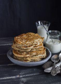 Healthy breakfast or snack - whole grain pancake Whole Grain Pancakes, Grains, Snacks, Breakfast, Healthy, Food, Morning Coffee, Appetizers, Essen